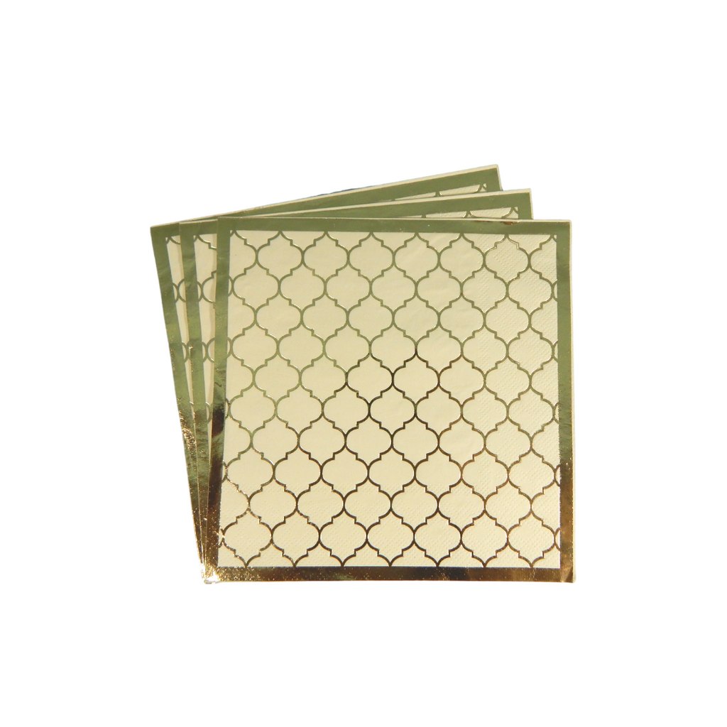 Moroccan Ivory Party Napkins - 20 pack - Peacock Supplies