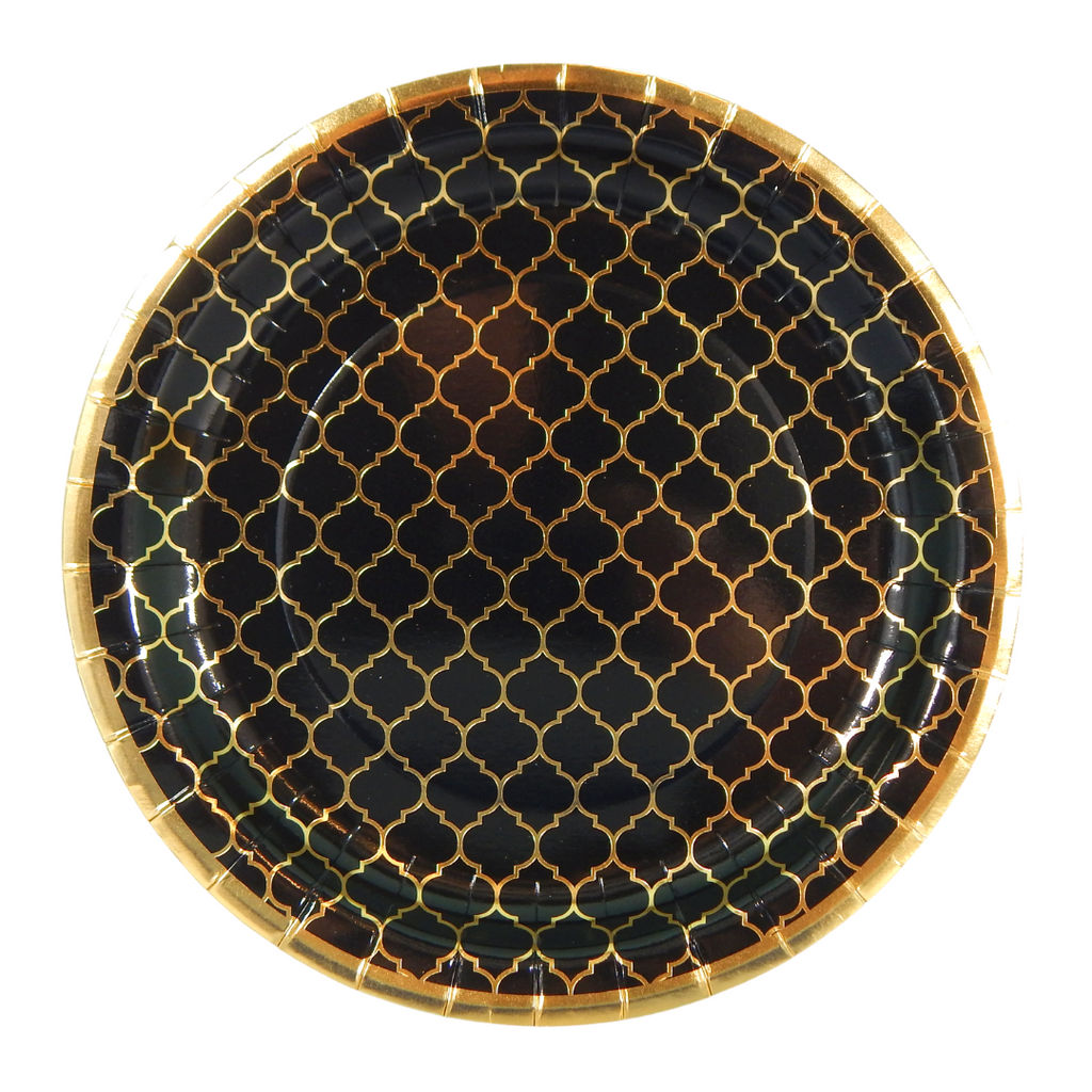 Moroccan Ebony Party Plates - 10 pack - Peacock Supplies