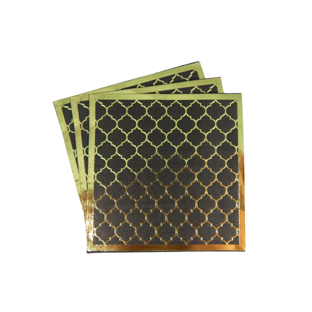 Moroccan Ebony Party Napkins - 20 pack - Peacock Supplies