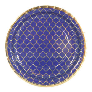 Moroccan Navy Party Plates - 10 pack - Peacock Supplies