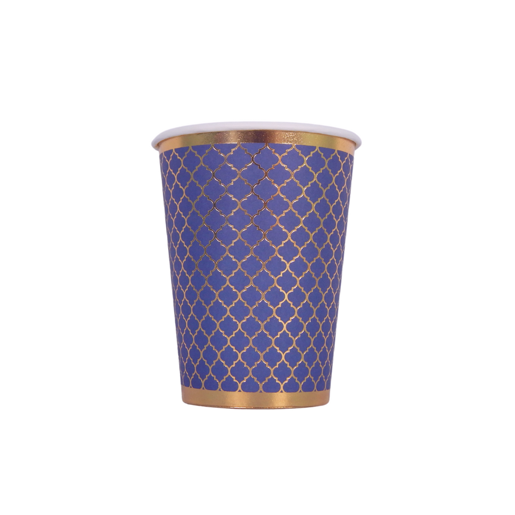 Moroccan Navy Party Cups - 10 pack - Peacock Supplies