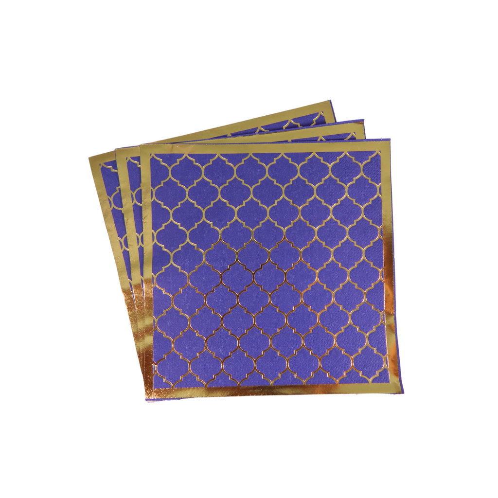 Moroccan Navy Party Napkins - 20 pack - Peacock Supplies