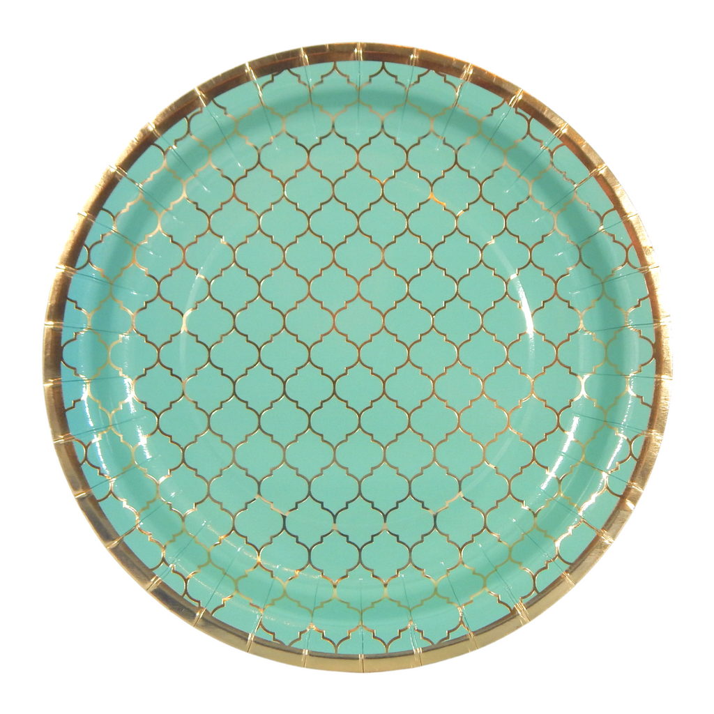 Moroccan Teal Party Plates - 10 pack - Peacock Supplies