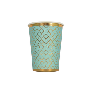 Moroccan Teal Party Cups - 10 pack - Peacock Supplies