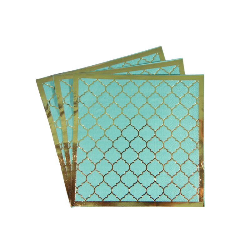 Moroccan Teal Party Napkins - 20 pack - Peacock Supplies
