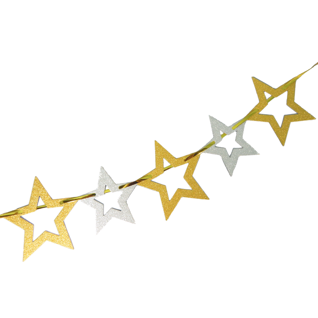 Glitter Star Garland - Gold & Silver - Peacock Supplies