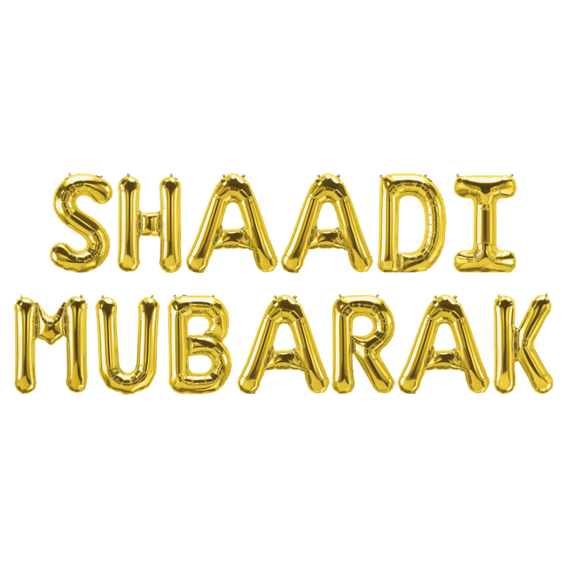 Shaadi Mubarak Foil Balloons - Gold - Peacock Supplies