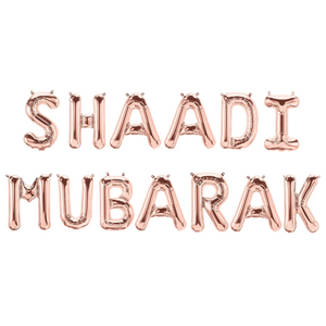 Shaadi Mubarak Foil Balloons - Rose Gold - Peacock Supplies