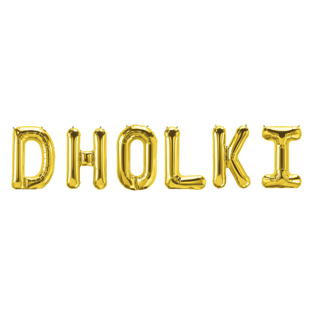 Dholki Foil Balloons - Gold - Peacock Supplies