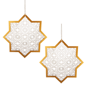 Hanging Star & Chain - 2 pack - White & Gold - Peacock Supplies