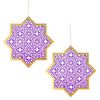 Hanging Star & Chain - 2 pack - Purple & Gold - Peacock Supplies