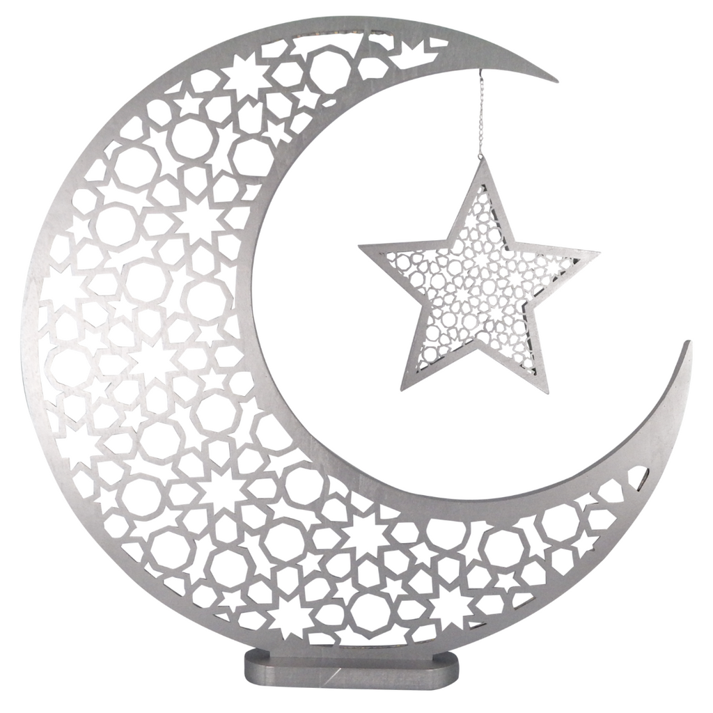 Large Moon & Star - Silver - Peacock Supplies