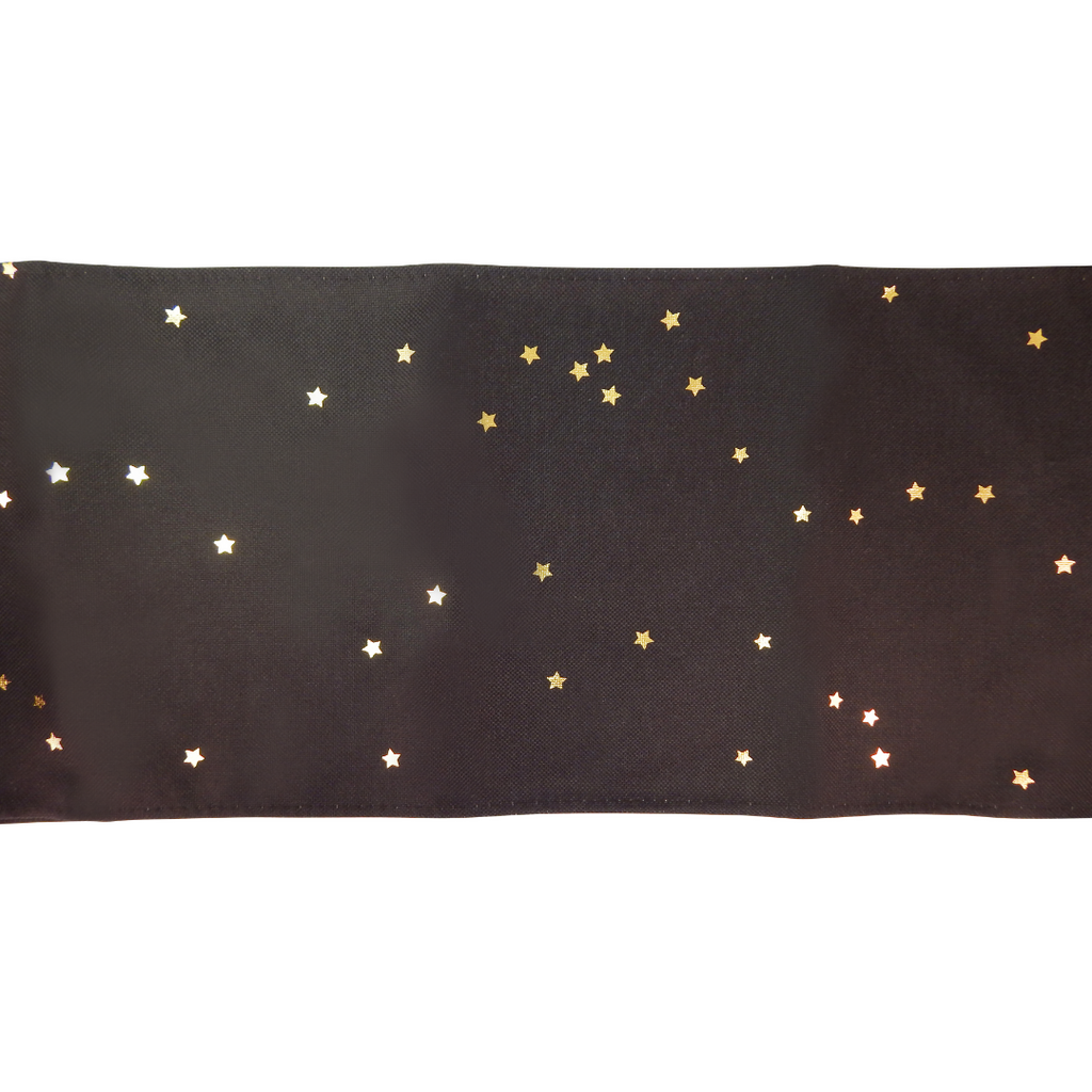 Table Runner - Black with Gold Stars - Peacock Supplies