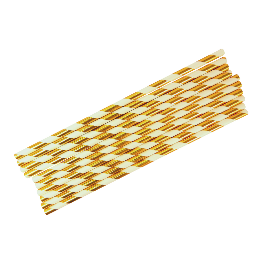 Party Straws (10pk) - White & Gold - Peacock Supplies