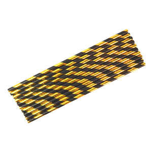 Party Straws (10pk) - Black & Gold - Peacock Supplies