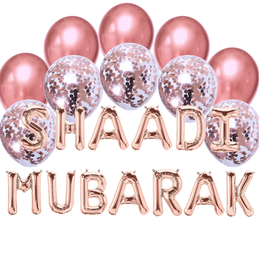 Balloon Bundle - Shaadi Mubarak - Rose Gold - Peacock Supplies