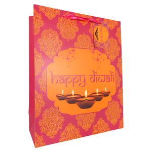 Diwali Pink Gift Bag - Peacock Supplies
