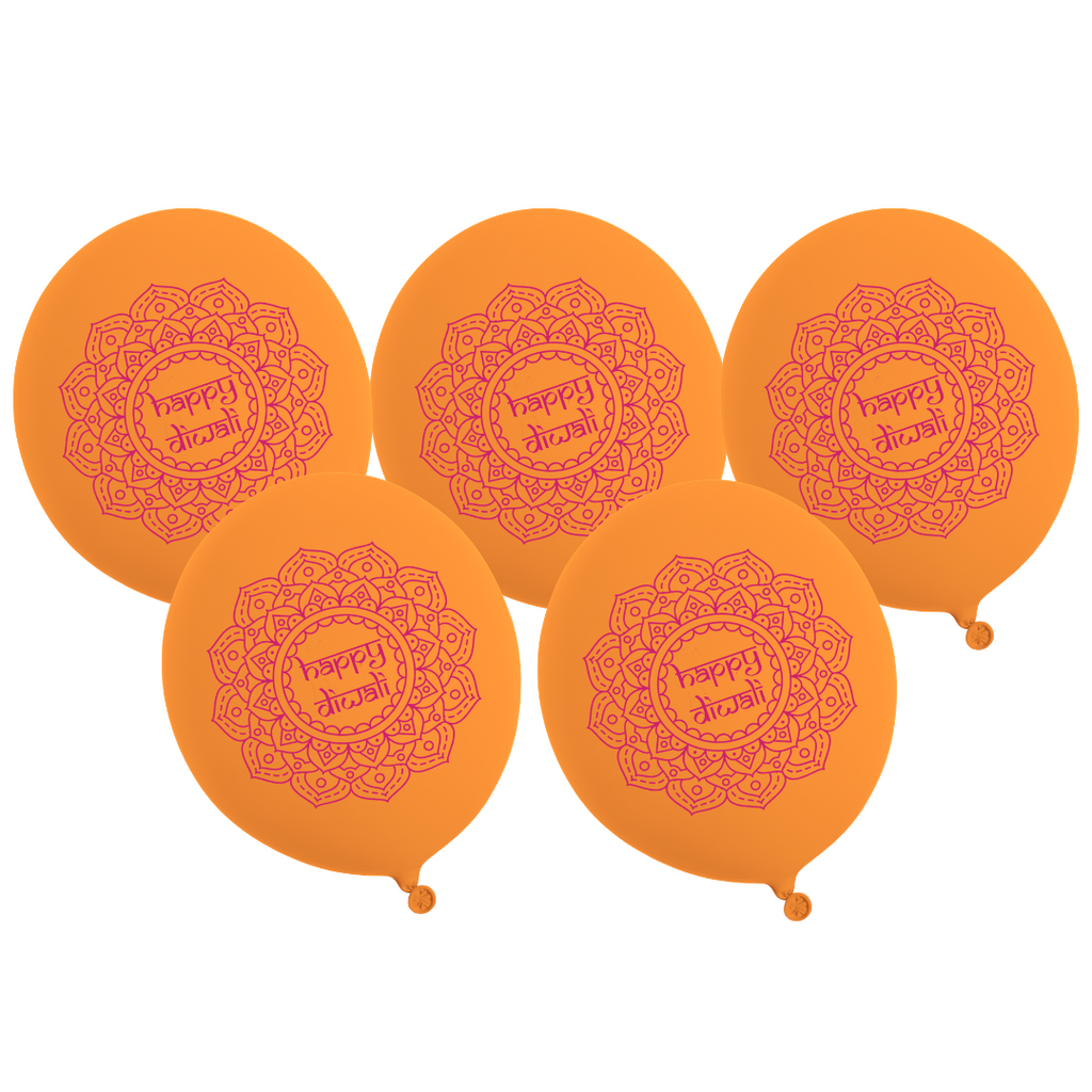 Happy Diwali Party Balloons (5pk) - Orange & Pink - Peacock Supplies