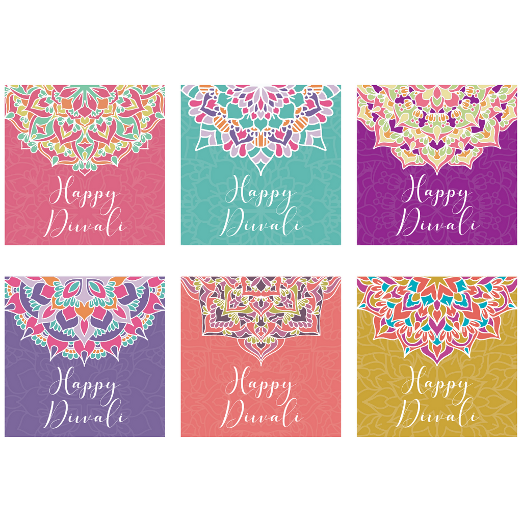 Diwali Bright Mandala Greeting Cards - 6 pack - Peacock Supplies