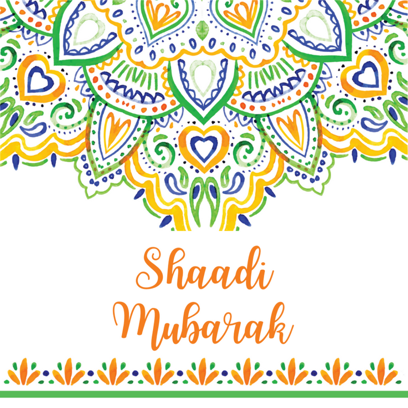 Shaadi Mubarak Greeting Card - Mandala - Peacock Supplies