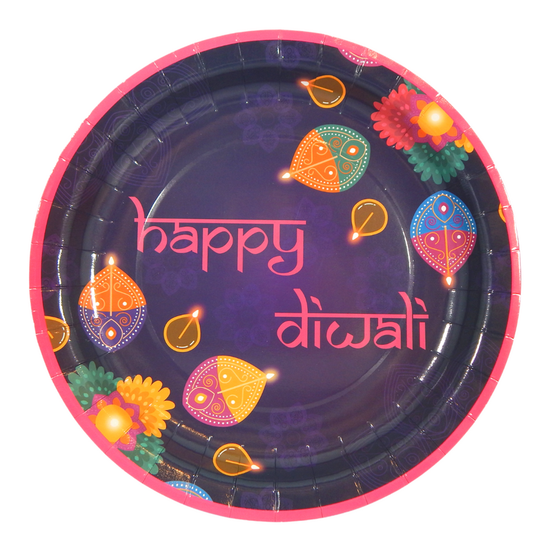 Diwali Pink Party Plates - 10 pack - Peacock Supplies