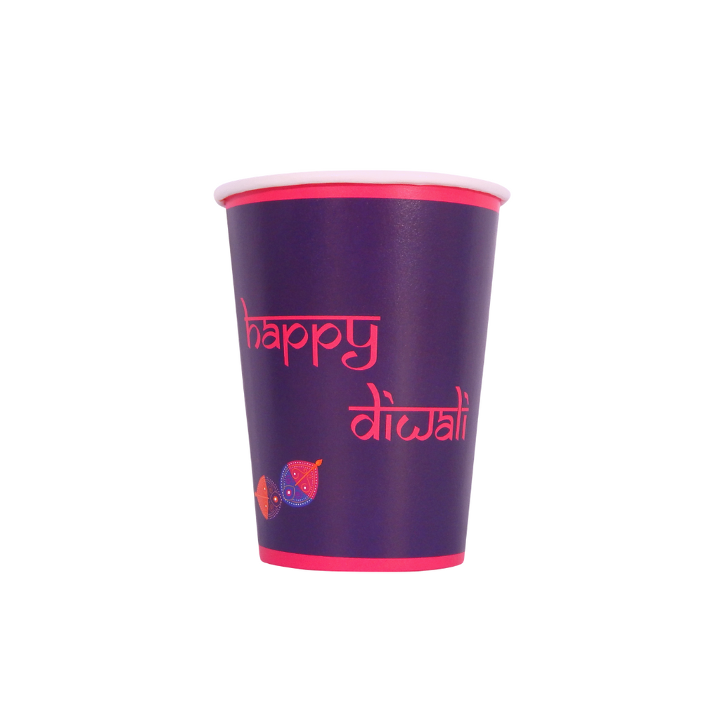 Diwali Purple Party Cups - 10 pack - Peacock Supplies
