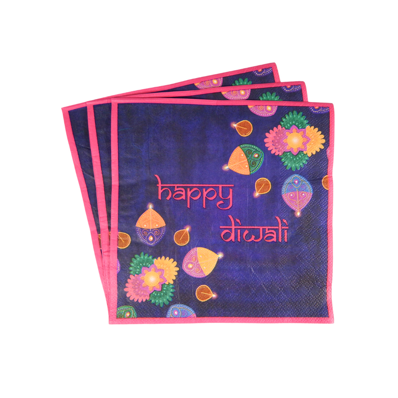 Diwali Purple Party Napkins - 20 pack - Peacock Supplies