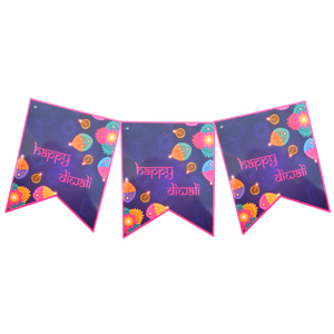 Diwali Purple Party Banner - Peacock Supplies