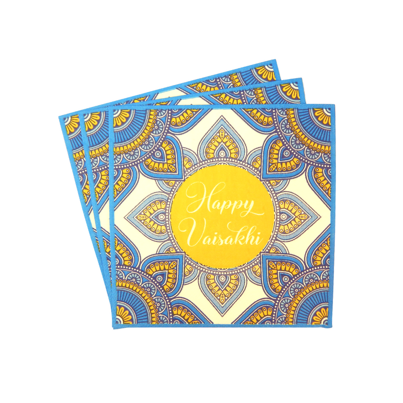 Vaisakhi Party Napkins (20pk) - Blue & Yellow - Peacock Supplies