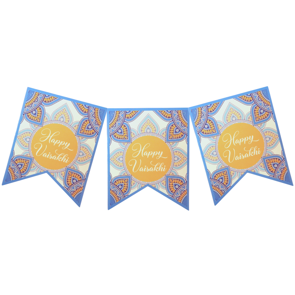 Vaisakhi Party Banner - Blue & Yellow - Peacock Supplies