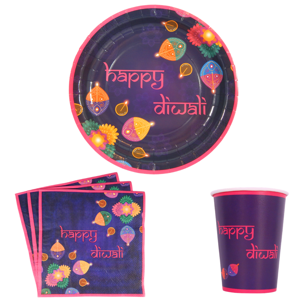 Happy Diwali Party Pack - Purple & Pink - Peacock Supplies