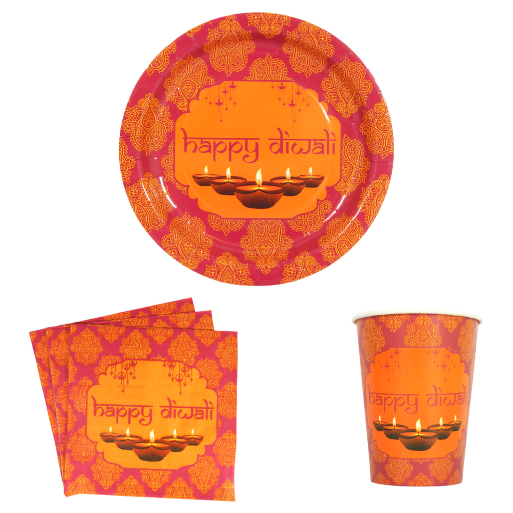 Happy Diwali Party Pack - Pink & Orange - Peacock Supplies