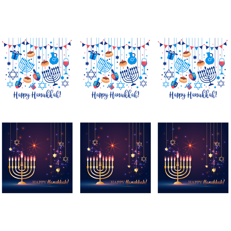 Happy Hannukah Greeting Cards (6pk) - Peacock Supplies
