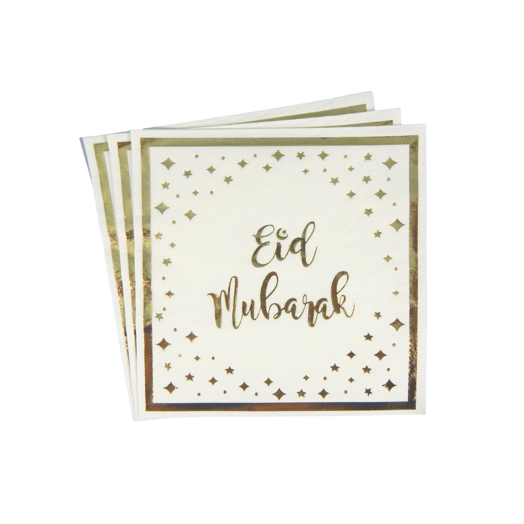 Eid Mubarak Napkins (20 pk) - Cream & Gold - Peacock Supplies