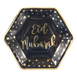 Eid Mubarak Party Plates (10 pk) - Black & Gold - Peacock Supplies