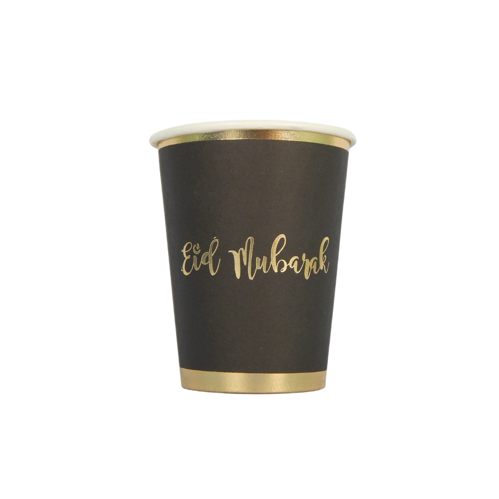 Eid Mubarak Cups (10 pk) - Black & Gold - Peacock Supplies