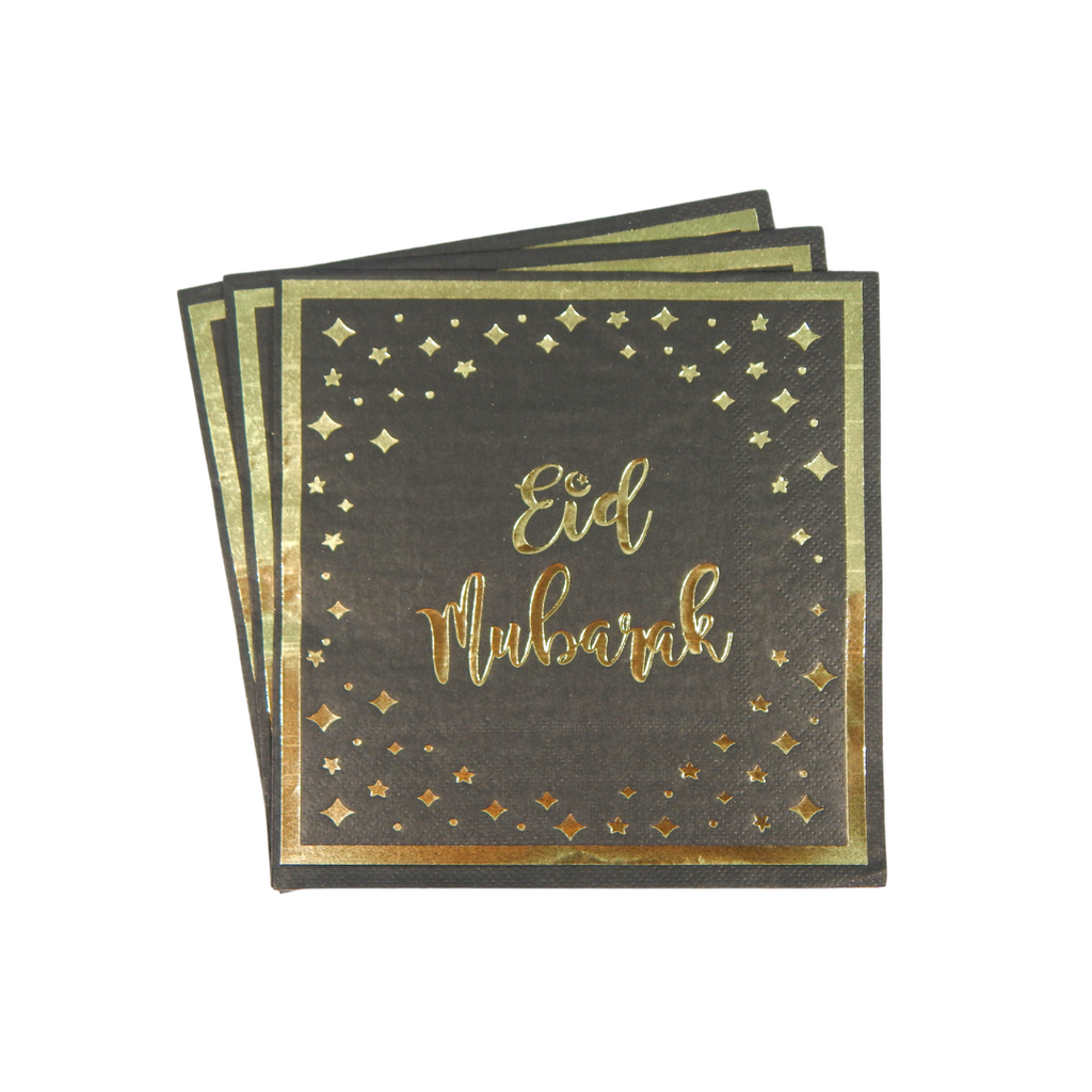 Eid Mubarak Napkins (20 pk) - Black & Gold - Peacock Supplies