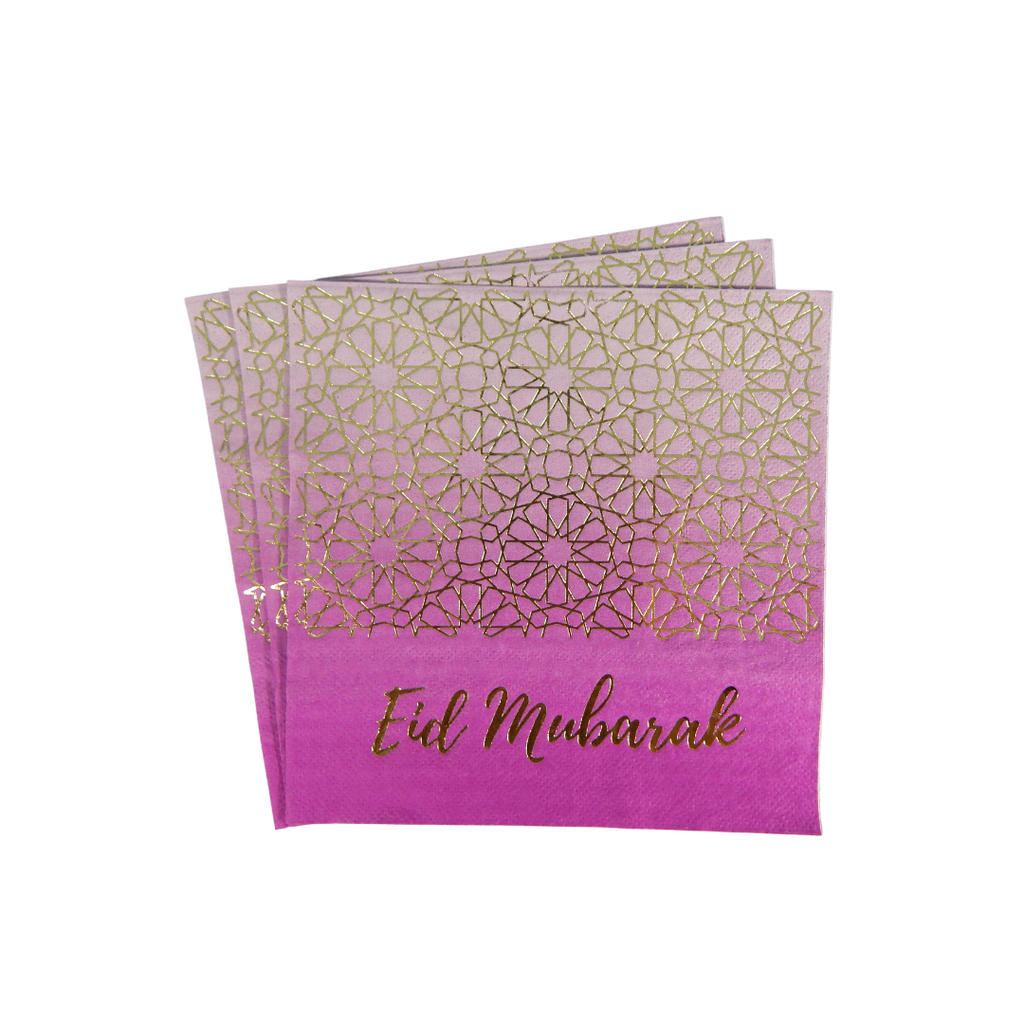 Eid Mubarak Napkins (20 pk) - Purple & Gold - Peacock Supplies