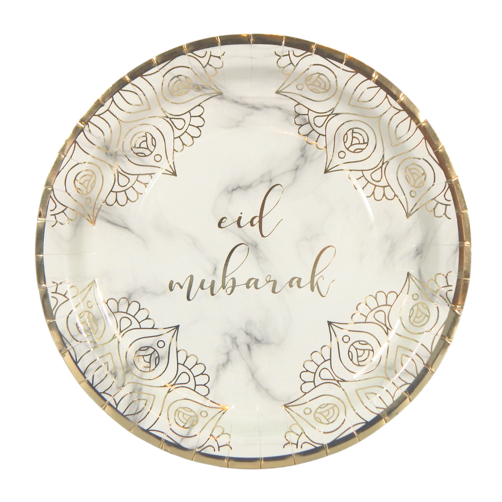 Eid Mubarak Party Plates (10 pk) - Marble & Gold - Peacock Supplies