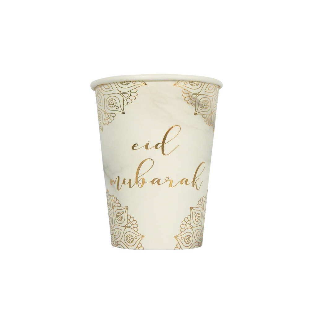 Eid Mubarak Cups (10 pk) - Marble & Gold - Peacock Supplies