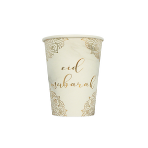 Eid Mubarak Cups (1 pk) - Marble & Gold - Peacock Supplies