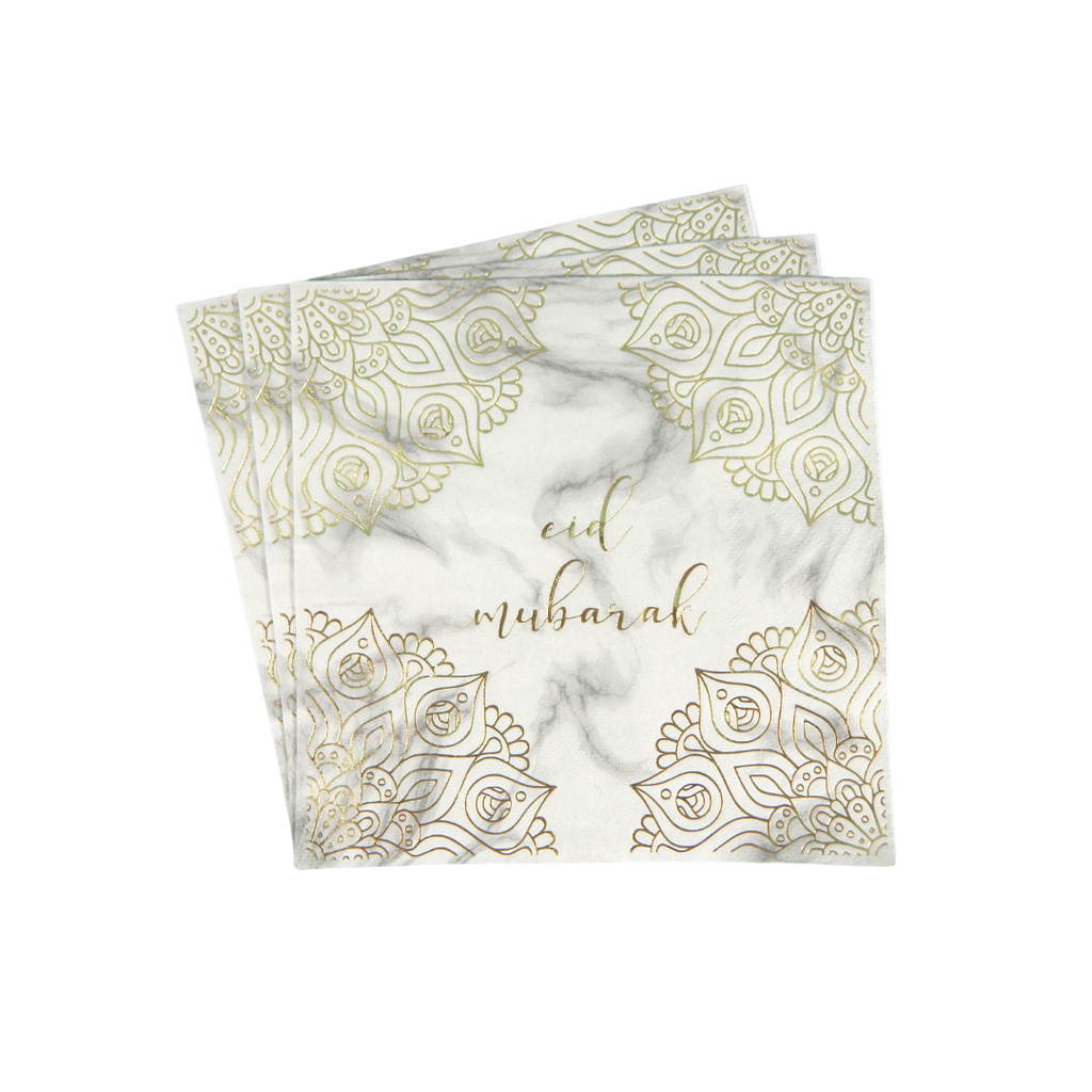 Eid Mubarak Napkins (20 pk) - Marble & Gold - Peacock Supplies