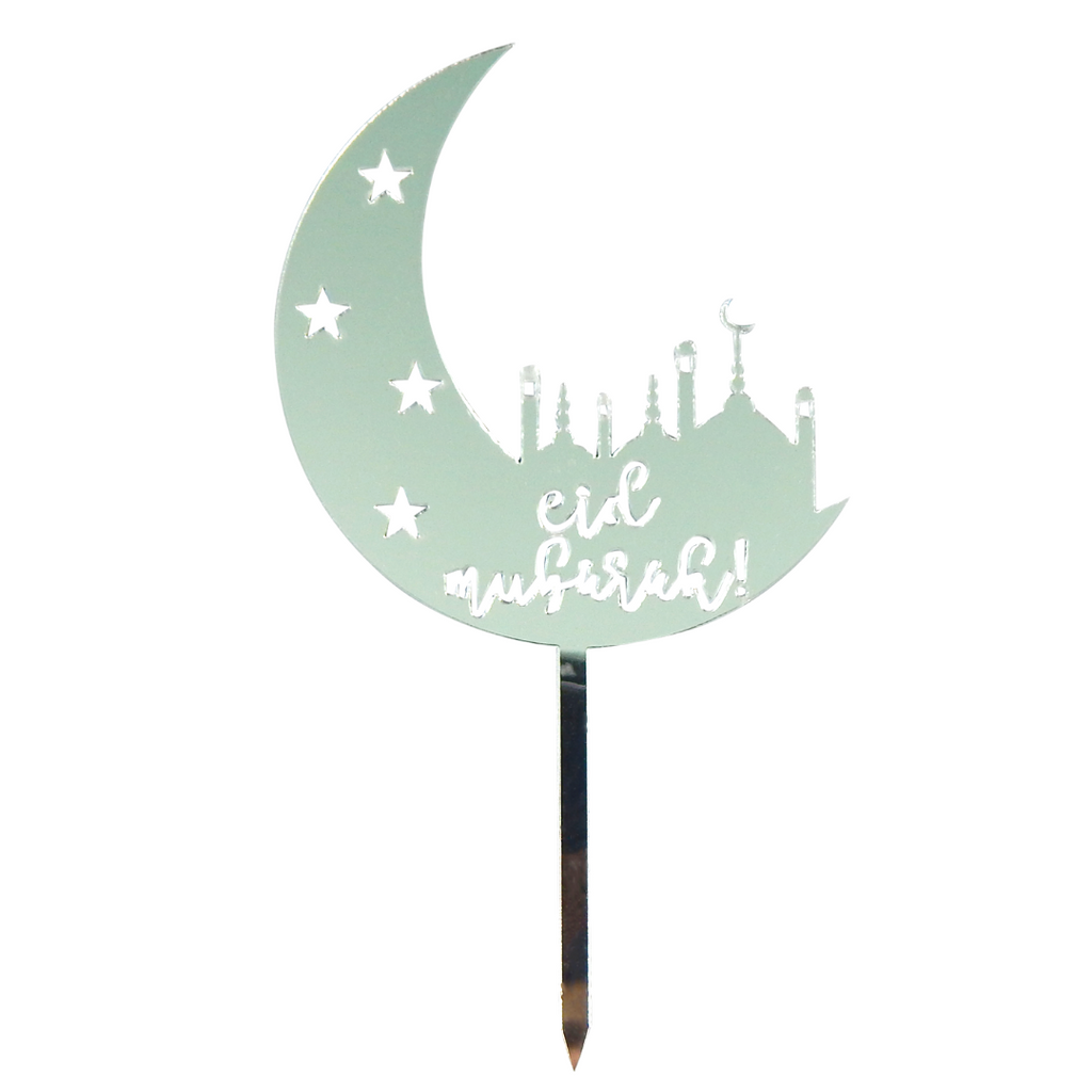 Eid Mubarak Cake Toppers (5pk) - Silver - Peacock Supplies