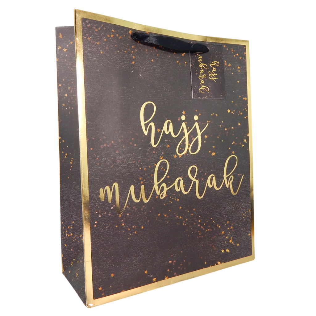 Hajj Mubarak Gift Bag - Black & Gold - Peacock Supplies