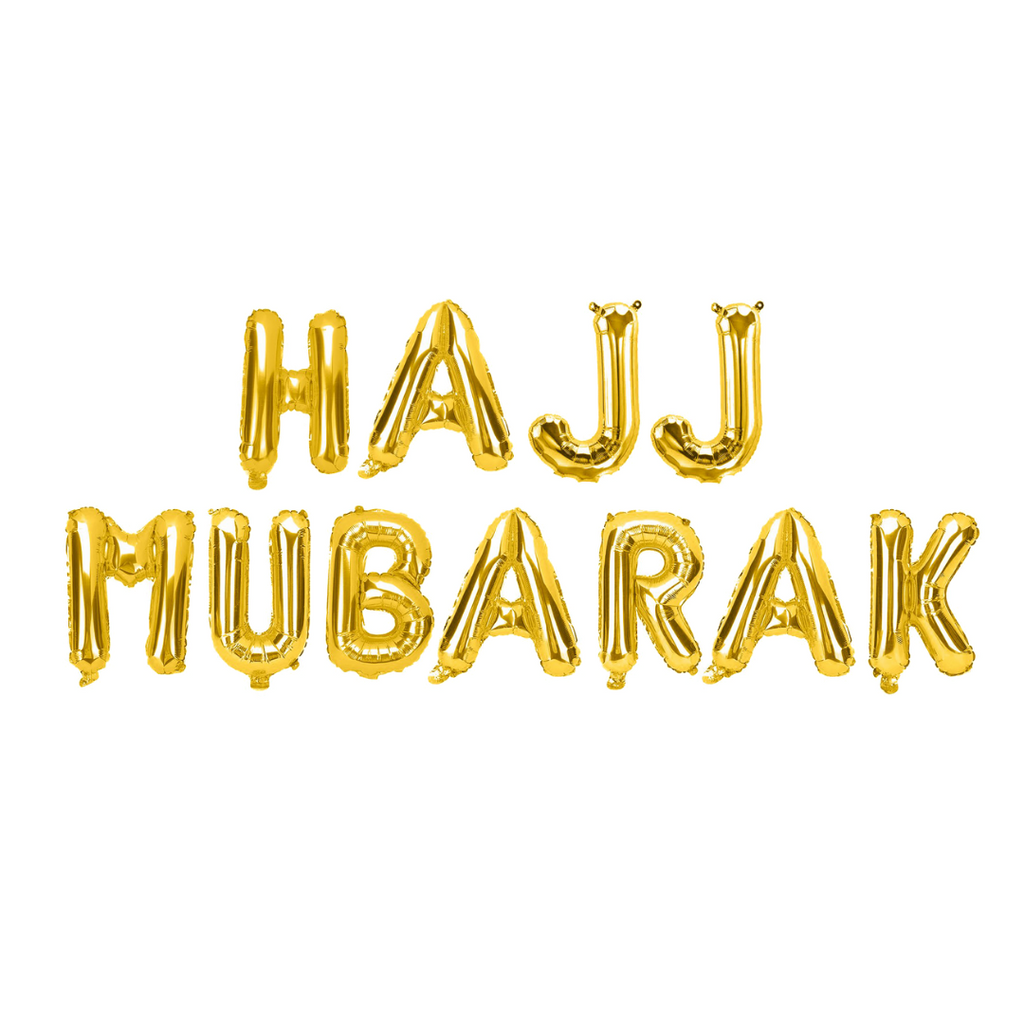 Hajj Mubarak Foil Balloons - Gold - Peacock Supplies