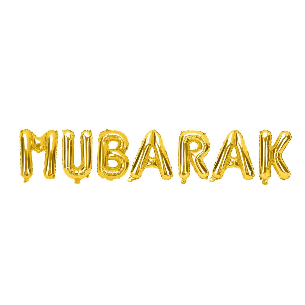 Mubarak Foil Balloons - Gold - Peacock Supplies