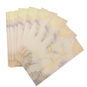 Eid Mubarak Money Envelopes (10pk) - Marble & Gold