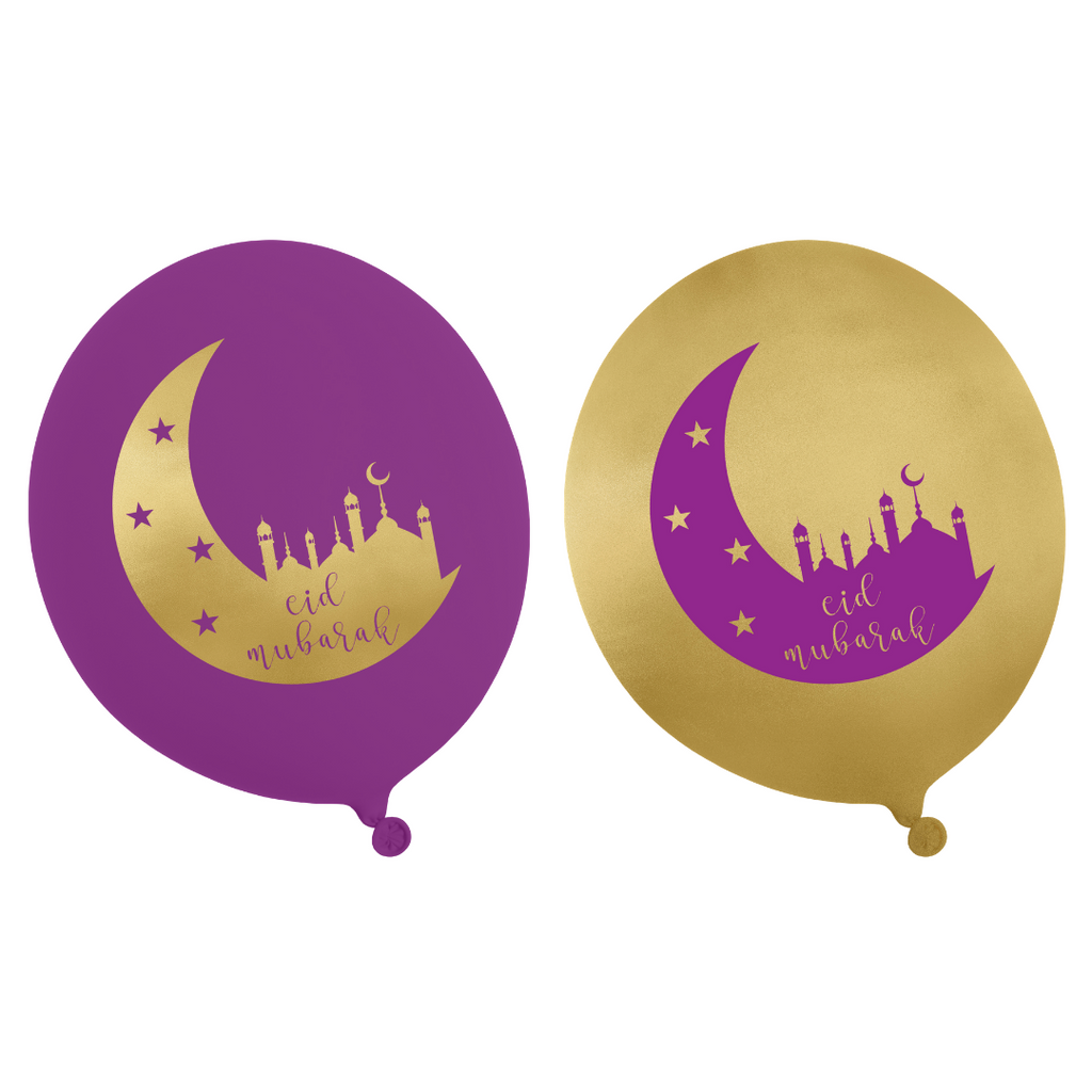 Eid Party Balloons (10 pk) - Purple & Gold - Peacock Supplies