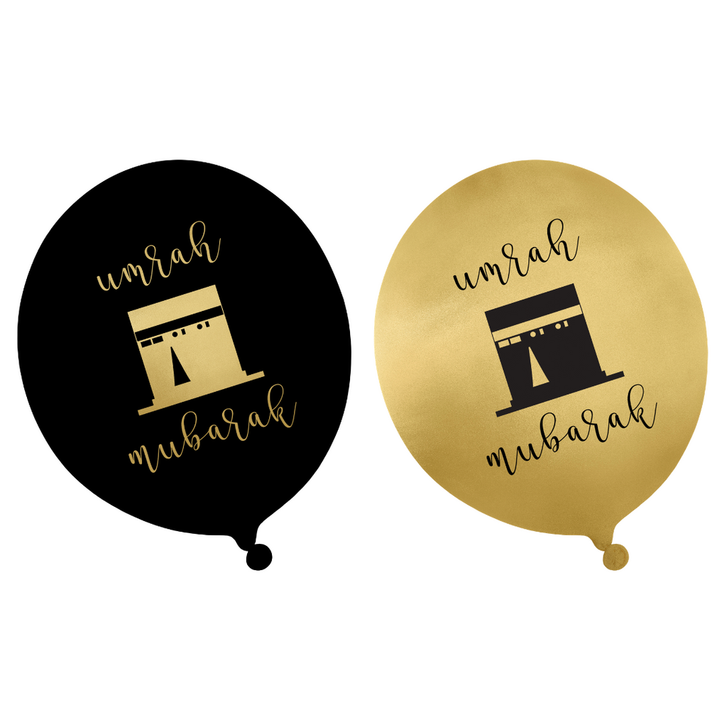 Umrah Party Balloons (10 pk) - Black & Gold - Peacock Supplies