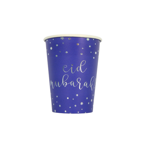 Eid Mubarak Cups (10 pk) - Blue & Silver - Peacock Supplies